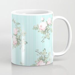 Shabby chic roses pink and mint Coffee Mug