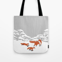 Foxes - Winter forest Tote Bag