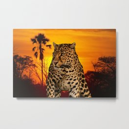 Leopard and Sunset Metal Print