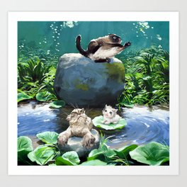 Bath time in the pond! Art Print