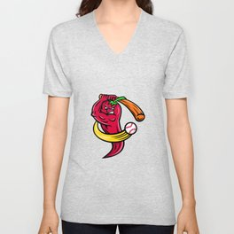 Red Chili Pepper Baseball Mascot Unisex V-Neck