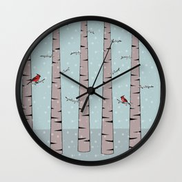 Cardinals in snow trees Wall Clock