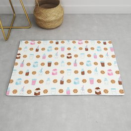 Milk and Cookies Pattern on White Rug