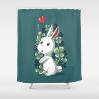 clover Shower Curtains featuring Clover Bunny by Freeminds