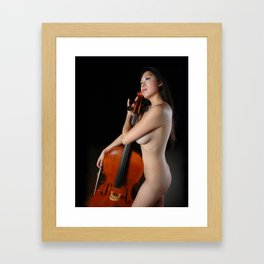0205-JC Nude Cellist with Her Cello and Bow Naked Young Woman Musician Art Sexy Erotic Sweet Sensual Framed Art Print