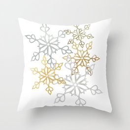 Gold and Silver Snowy Mandalas Christmas Shimmer Throw Pillow