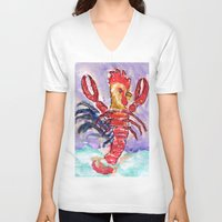 cock V-neck T-shirts featuring Cock Lobster by Taylor Winder