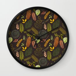 My favorite color is october- autumnal leaves pattern Wall Clock