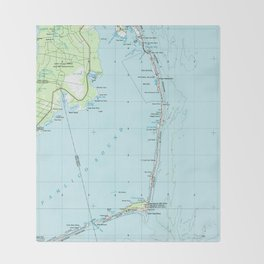 Vintage Southern Outer Banks Map (1957) Throw Blanket