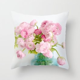 Dreamy Shabby Chic Ranunculus Peonies Roses Print - Spring Summer Garden Flowers Mason Jar Throw Pillow