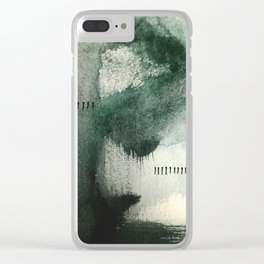 Last Kiss: a minimal, abstract watercolor piece in greens Clear iPhone Case