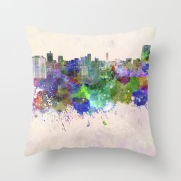 Sendai skyline in watercolor background Throw Pillow