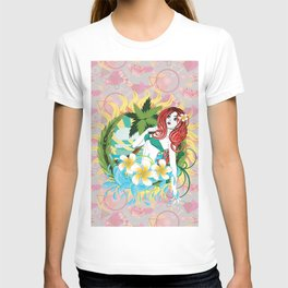 Mermaid and plumeria flowers T-shirt