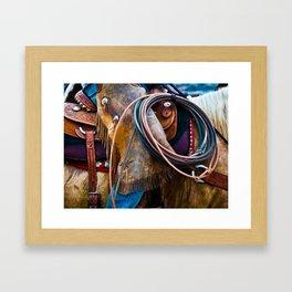 Tools of the Trade - Cowboy Saddle Closeup Framed Art Print
