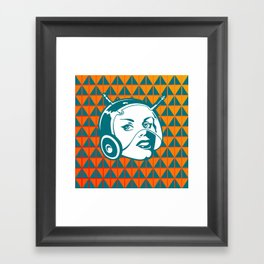 Faces: SciFi lady on a teal and orange pattern background Framed Art Print