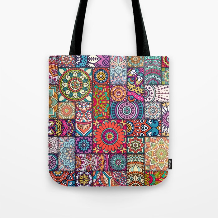 Boho Patchwork Quilt Pattern 2 Tote Bag By Robincurtiss