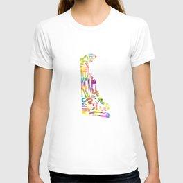 Typographic Delaware - multi watercolor map T-shirt