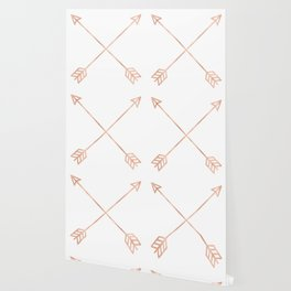 Rose Gold Arrows on White Wallpaper