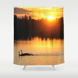 Canada Geese Family Sunset Shower Curtain