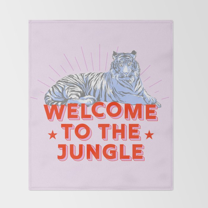 welcome to the jungle - retro tiger Throw Blanket