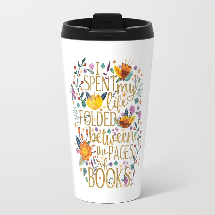 Folded Between the Pages of Books - Floral Travel Mug