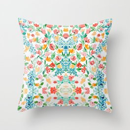 Poppy watercolor Throw Pillow