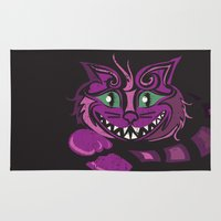 cheshire cat Area & Throw Rugs featuring Cheshire Cat by KaytiDesigns