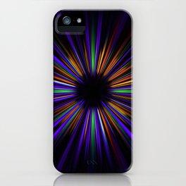 Purple and orange light trails starburst iPhone Case