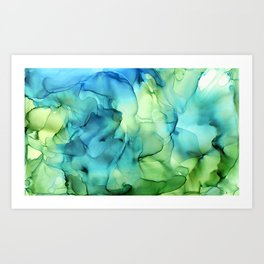 Blue Green Spring Marble Abstract Ink Painting Art Print
