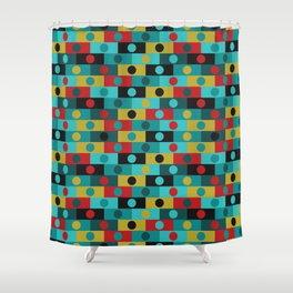 Retro Color Blocks in red Shower Curtain
