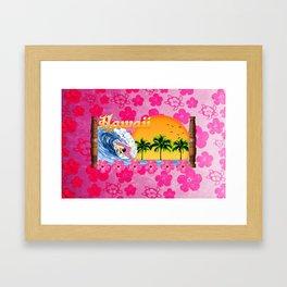 Pink Hibiscus Hawaiian Surfing Framed Art Print