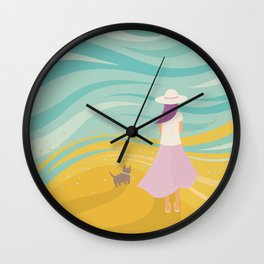 Listen to the Ocean (Girl and Cat Vector Graphic Illustration) Wall Clock