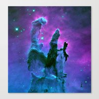 nebula Canvas Prints featuring Nebula Purple Blue Pink by 2sweet4words Designs
