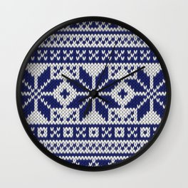 Winter knitted pattern 5 Wall Clock