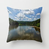 river song Throw Pillows featuring Song of the Delaware River by PamelasDreams