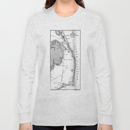 Vintage Map of The Outer Banks (1862) BW Long Sleeve T-shirt