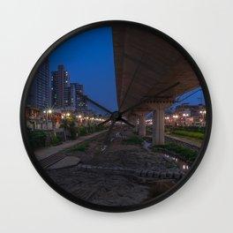 Cities South Korea Seoul Street Evening Houses Cities Street lights Building Wall Clock