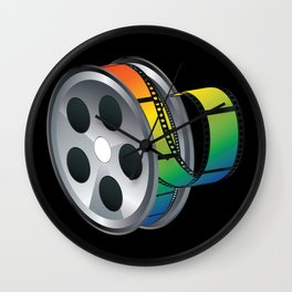 Film reel with colorful tape Wall Clock