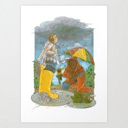 Kids in the Rain Art Print