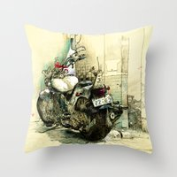 motorbike Throw Pillows featuring Slimedog Motorbike  by danielbrunkert