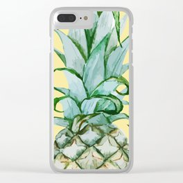 Yellow Pineapple , Tropical Fruit , Hawaiian Clear iPhone Case