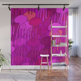 Jellyfish Pink Wall Mural