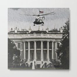 Usa White House Artistic Illustration Guernica Style Metal Print