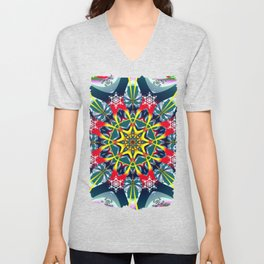 Decorative Winter Star and Snowflakes Unisex V-Neck