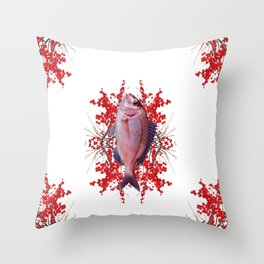 Red Berries Fish Throw Pillow