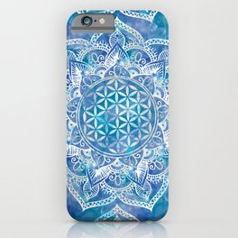 Flower of Life in Lotus - Watercolor Blue iPhone Case