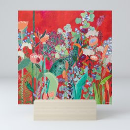 Red floral Jungle Garden Botanical featuring Proteas, Reeds, Eucalyptus, Ferns and Birds of Paradise Mini Art Print