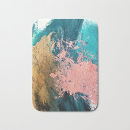 Coral Reef [1]: colorful abstract in blue, teal, gold, and pink Bath Mat