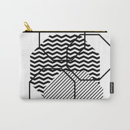 Geometric - Hexagon, Black Mixed Pattern Carry-All Pouch