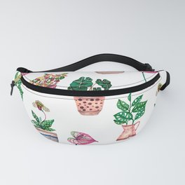House plant in pots watercolour illustration Fanny Pack